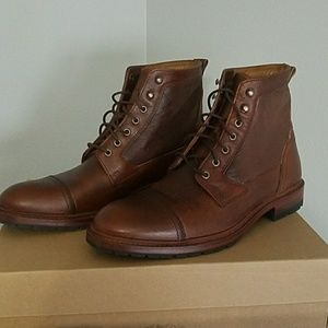 Trask Lowell Saddle Tan Shearling Leather Boots